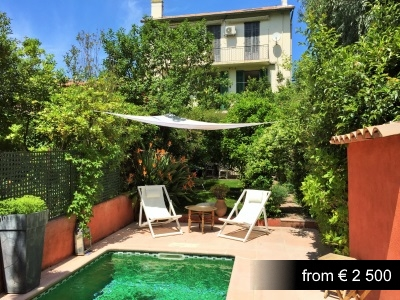 Charming summer house in residential area of Cannes, close to beaches.